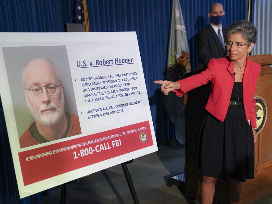 Audrey Strauss, acting U.S. attorney for the Southern District of New York, points to an image of Robert Hadden during a news conference Wednesday to announce his arrest and indictment.
