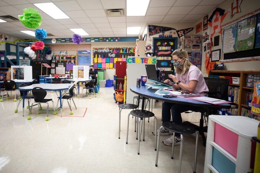 A teacher at Boone Elementary teaching during the pandemic