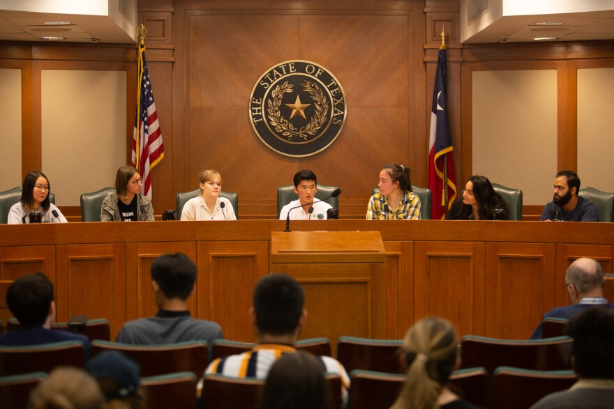 Student leaders hold a news conference at the Texas Capitol.