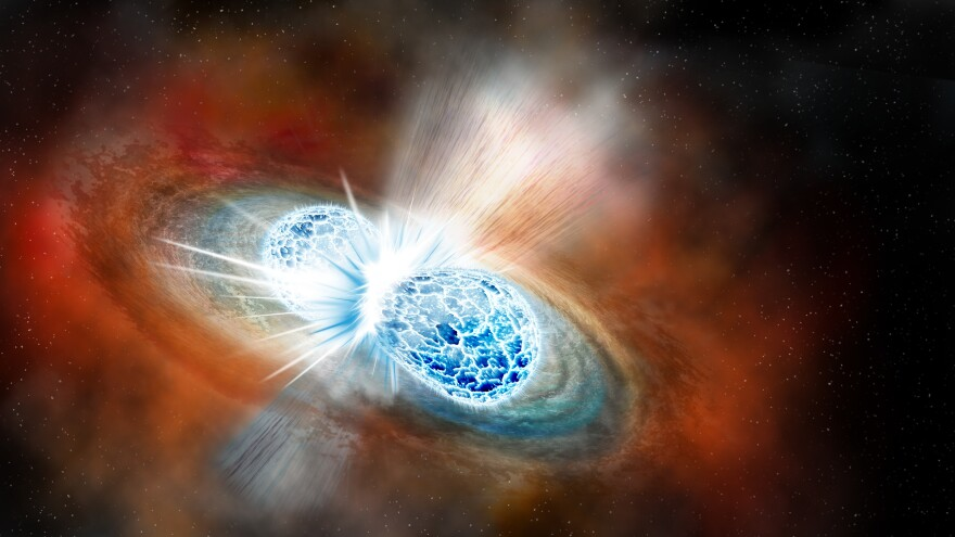The collision of two neutron stars, seen in an artist's rendering, created both gravitational waves and gamma rays. Researchers used those signals to locate the event with optical telescopes.