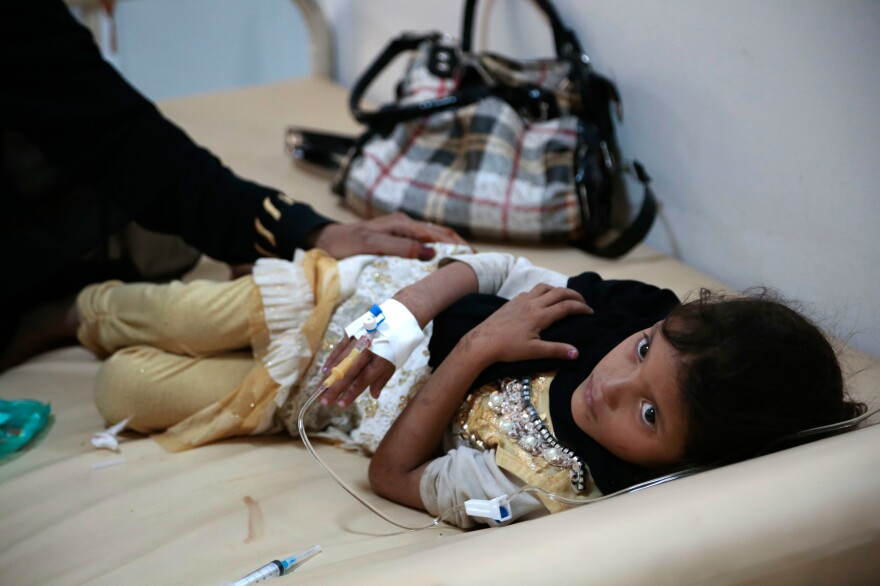 A girl is treated for suspected cholera infection at a hospital in Sanaa, Yemen. There were more than 1 million cases of cholera in the country between April 2017 and April 2018.