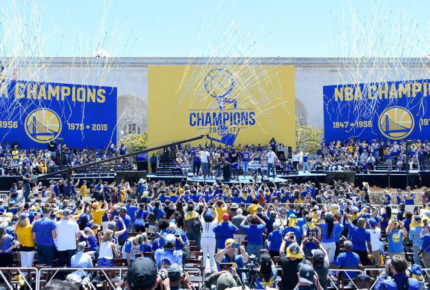 Golden State Warriors celebrate their 2017 NBA Championship at The Henry J. Kaiser Convention Center in Oakland, Calif., on June 15.