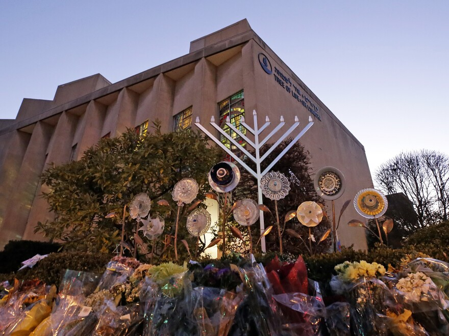A menorah is installed outside the Tree of Life Synagogue in Pittsburgh on the first night of Hanukkah.The synagogue was the site of a mass shooting in October. It was one of a number of tragedies and revelations that made 2018 a difficult year for the city of Pittsburgh.