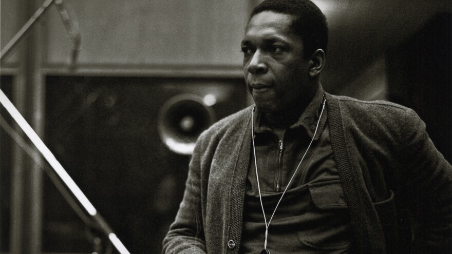 John Coltrane during the recording of <em>A Love Supreme</em> in December 1964.