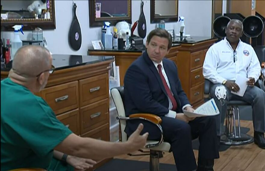 Gov. Ron DeSantis hosts a roundtable at an Orlando salon on Saturday to discuss reopening the businesses.