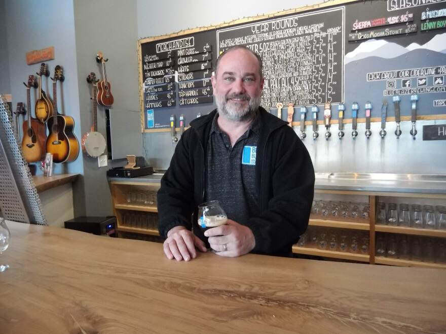 Craig Nunn in the taproom at Blue Blaze Brewing