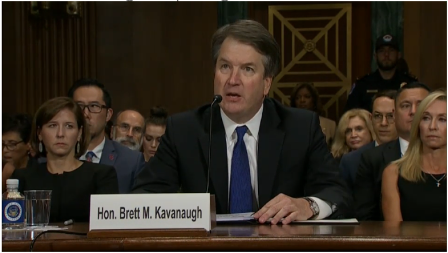 Screenshot of Brett Kavanaugh in testimony.