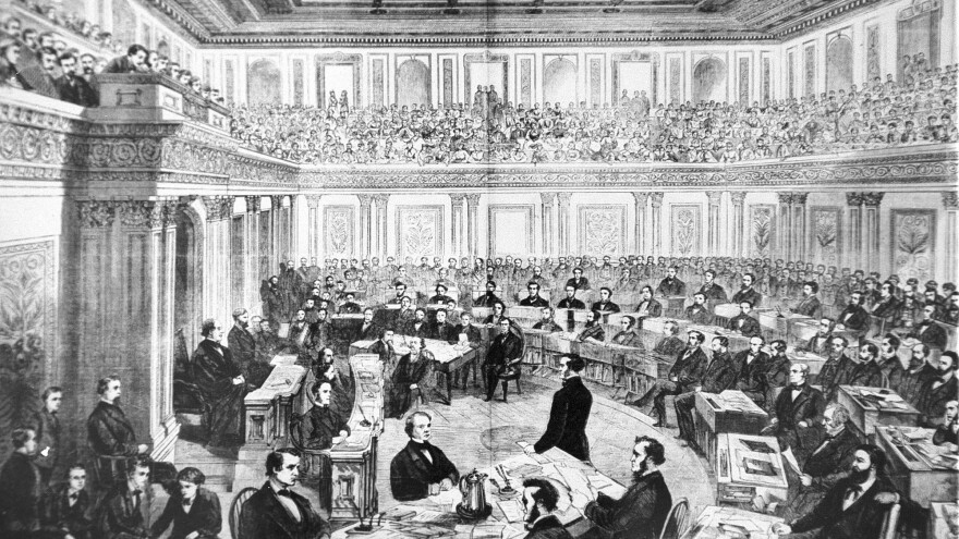 The impeachment trial of President Andrew Johnson in the Senate on March 13, 1868. The House approved 11 articles of impeachment against Andrew Johnson. After a 74-day Senate trial, the Senate acquitted Johnson on three of the articles by a one-vote margin each and decided not to vote on the remaining articles.