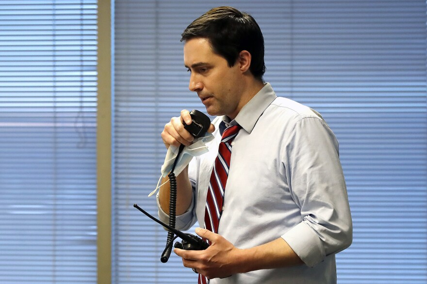 Ohio Secretary of State Frank LaRose, overseeing the Election Night Reporting Center, in Columbus, Ohio, calls for the closing of the polls in the Ohio primary election, Tuesday, April 28, 2020.