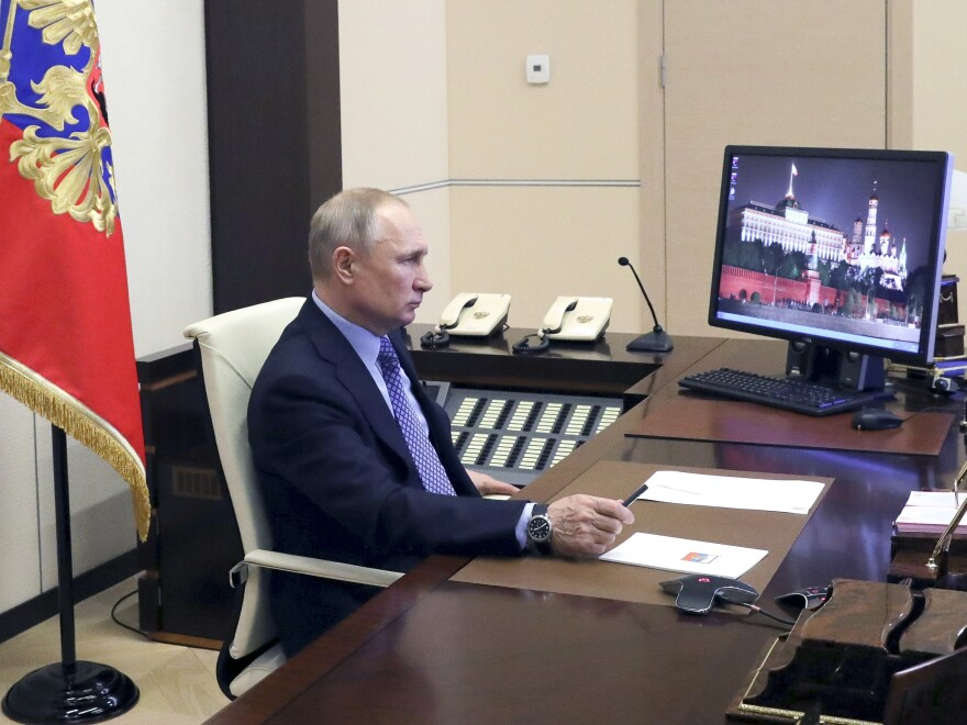 Russian President Vladimir Putin chaired a meeting with Russian regional officials via videoconference at the Novo-Ogaryovo residence outside Moscow, Russia, Monday, March 30, 2020.