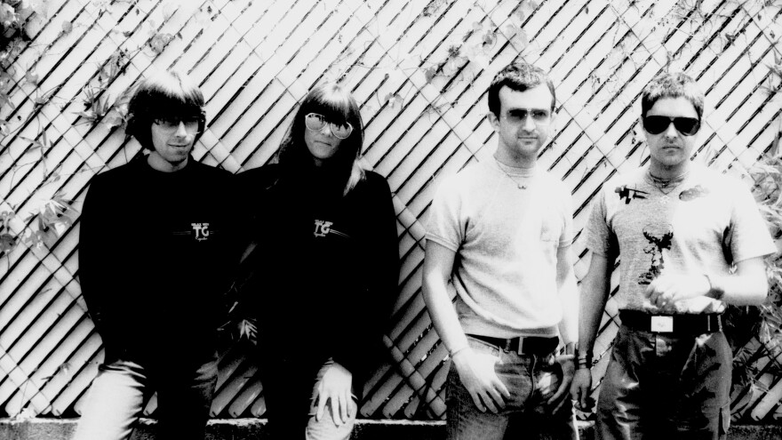 "Throbbing Gristle, photographed on May 22, 1981. From Left: Chris Carter, Cosey Fanni Tutti, Peter ""Sleazy"" Christopherson and Genesis P-Orridge."