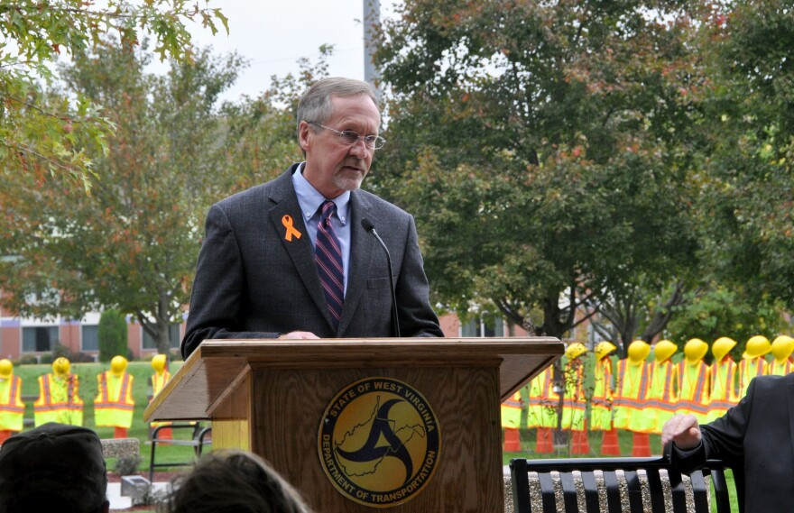 Former West Virginia Department of Transportation Secretary Tom Smith speaking at the Fallen Worker Memorial unveiling in September, 2017.