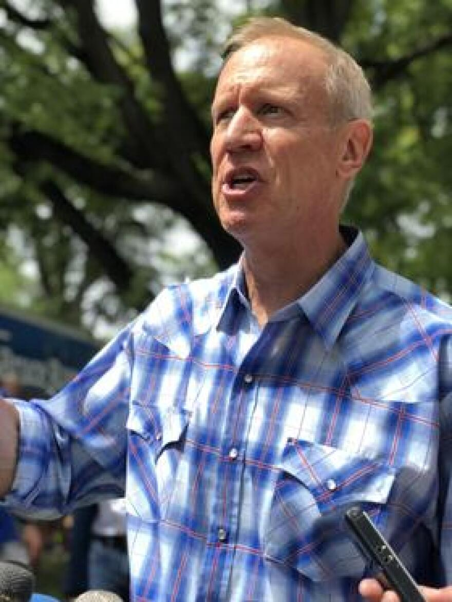 Bruce Rauner speaks at the 2018 Illinois State Fair.