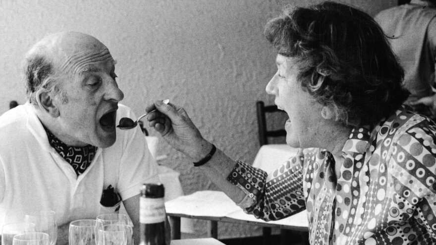 Julia Child and her husband Paul at Richard Olney's house in 1973. The TV chef played a big role in popularizing French food in the U.S.