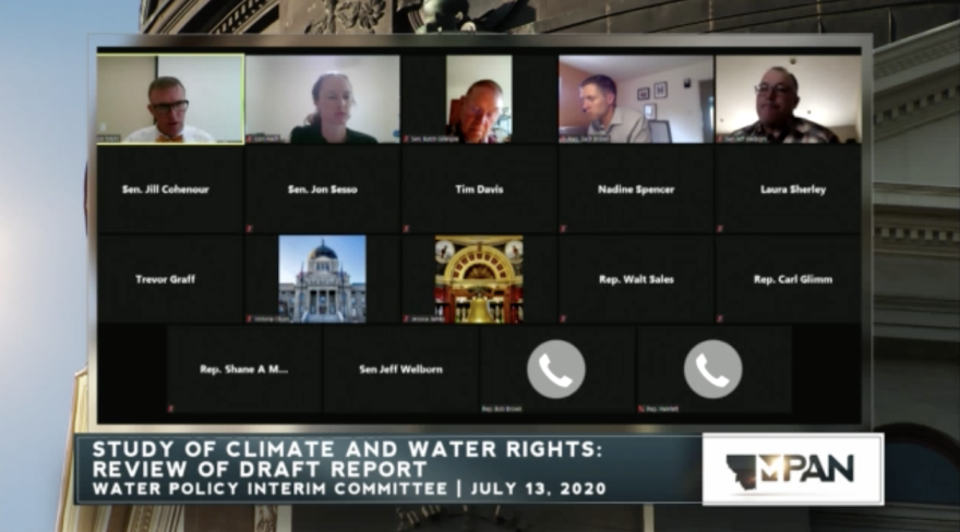 A photo of Montana's legislative Water Policy Interim Committee is briefed on a study during a remote meeting July 13.