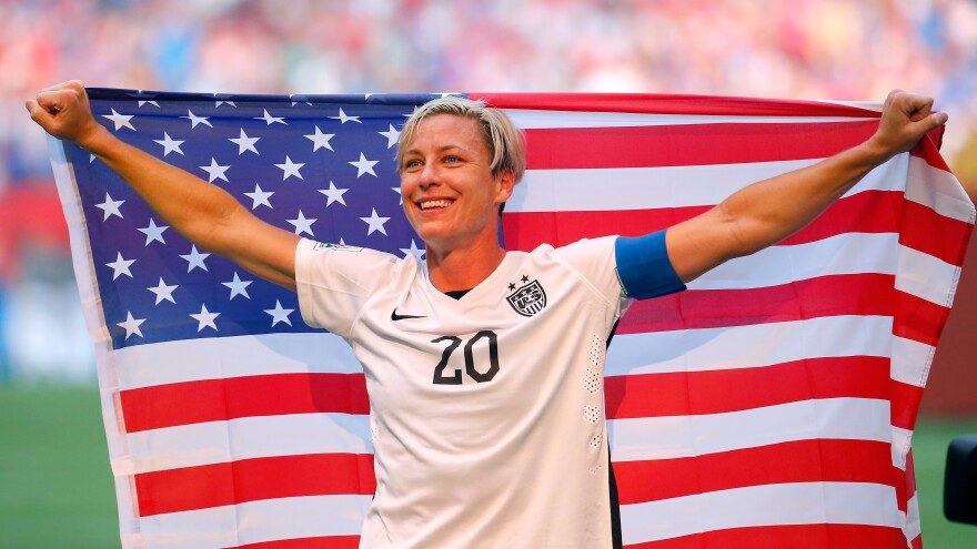 Abby Wambach celebrates the U.S. team's victory against Japan in the FIFA Women's World Cup on July 5, 2015.