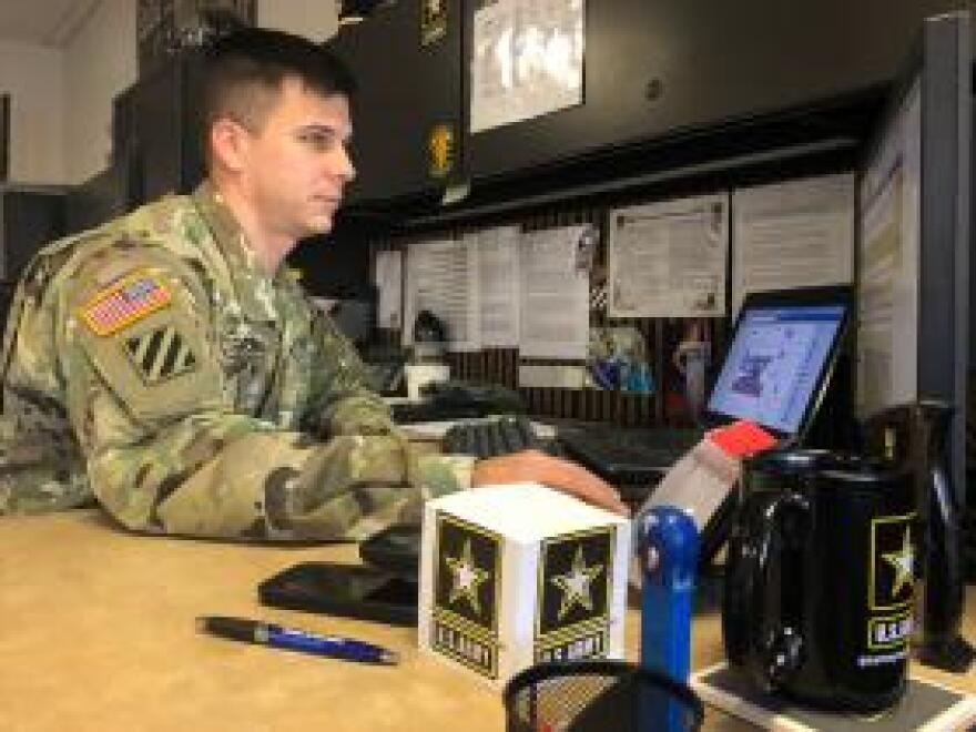"Staff Sgt. Miller McGowan goes online to do much of his recruiting in Chapel Hill, N.C. ""Targeting is the name of the game,"" he said."