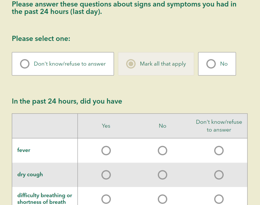 portion of the survey USF is using for its COVID-19 symptom-based surveillance program.
