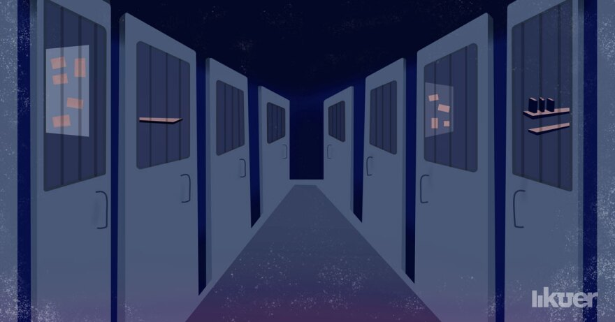 Illustration of a jail hallway.