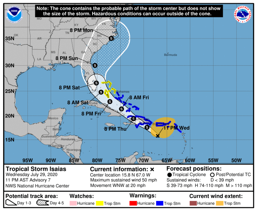 The 11 p.m. Wednesday map for Tropical Storm Isaias takes the 'cone of uncertainty' further east over Florida over the weekend.