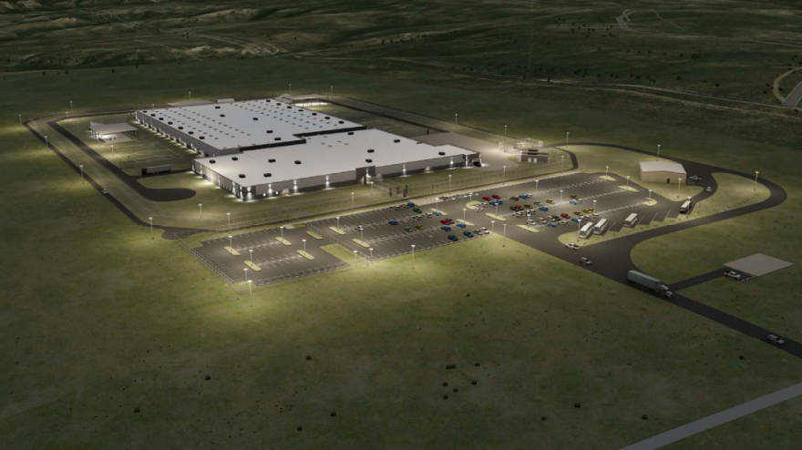 A rendering of CoreCivic's proposed immigration detention center in Evanston, Wyoming.
