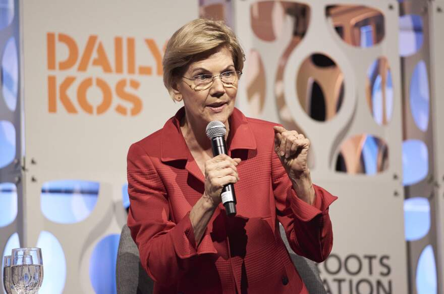 Sen. Elizabeth Warren speaks at the Netroots Nation candidate forum.