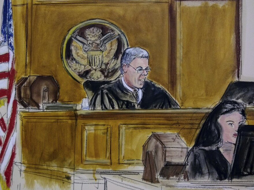 Magistrate Judge Stewart Aaron presided over a hearing in New York City last year as depicted in this courtroom sketch. Judges and courts are scrambling to adapt to the pandemic.