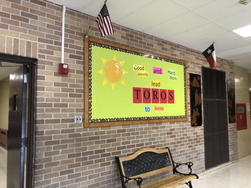 A bulletin board at Tafolla Middle School in San Antonio ISD on Mar. 30, 2019..