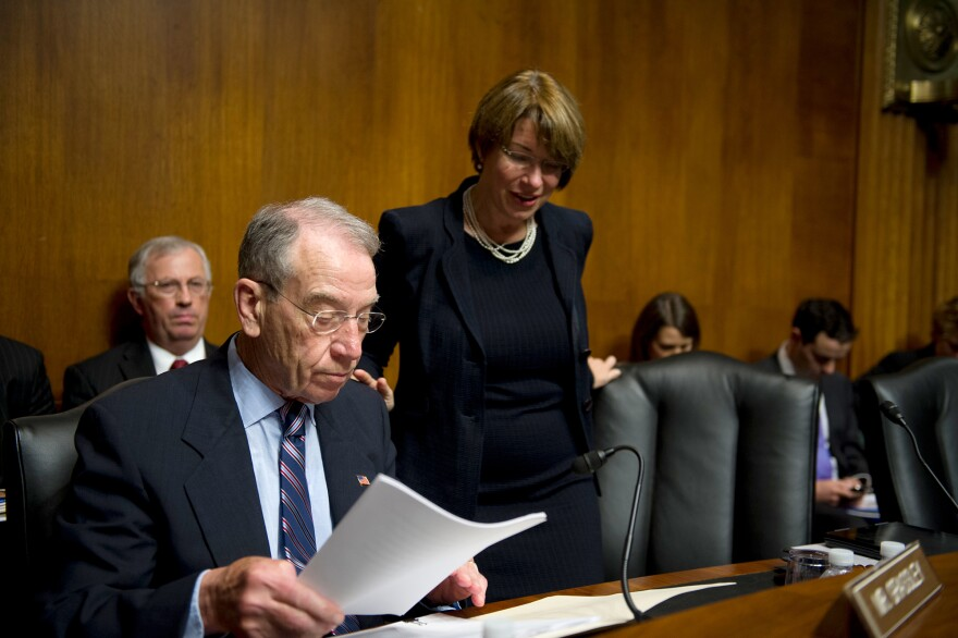 Republican Sen. Charles Grassley of Iowa and Democratic Sen. Amy Klobuchar of Minnesota want drugmakers to stop wasting money by making eyedrops that are too big.
