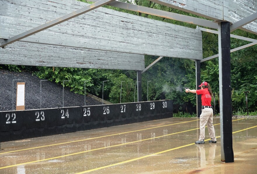 FBI special agent Lesley Edge demonstrates her firearms skills on July 15, 2019. Edge is the only female firearms instructor in the St. Louis field office of the FBI.
