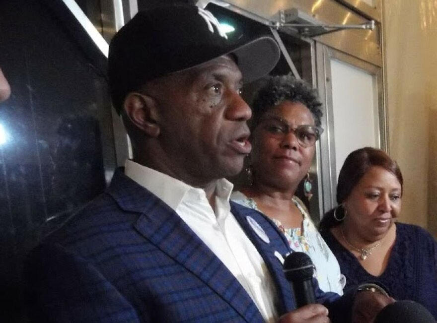 Garry McFadden spoke to supporters in May, after winning the Democratic primary for Mecklenburg Sheriff.