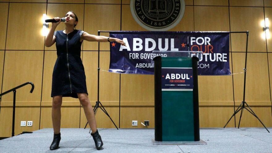 New York Democratic congressional nominee Alexandria Ocasio-Cortez campaigns for Michigan Democratic gubernatorial candidate Abdul El-Sayed last month.