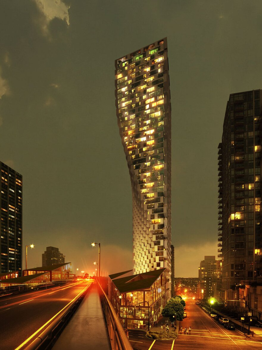 This rendering shows Ingels' design for an apartment building under construction in Vancouver. Its base is triangular, and it twists into a rectangle at the top.