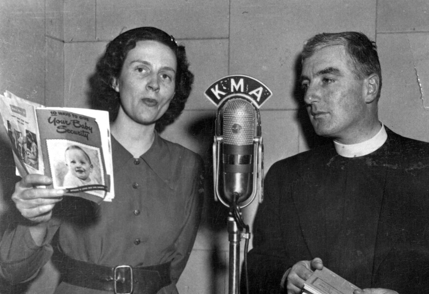 "Birkby and a guest, Vicar Henry Robbins, a local pastor, 1950. ""We were just women who shared our lives,"" Birkby says of herself and her fellow radio homemakers. ""We shared what we were doing with our families, what we were cooking, what we were eating."""