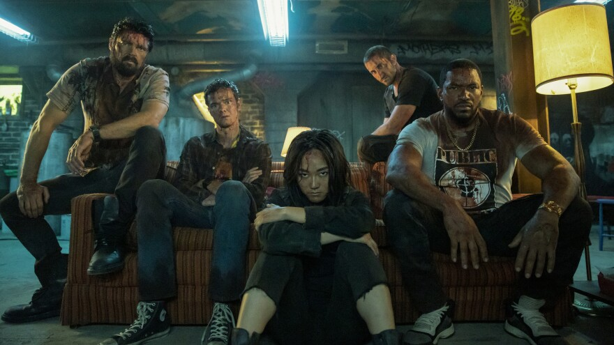 """The second season of Amazon Prime's <em>The Boys</em> comes out on Friday. Karl Urban plays Butcher (from left), and his """"boys"""" Hughie Campbell (Jack Quaid), The Female (Karen Fukuhara), Frenchie (Tomer Capon) and Mother's Milk (Laz Alonso)."""