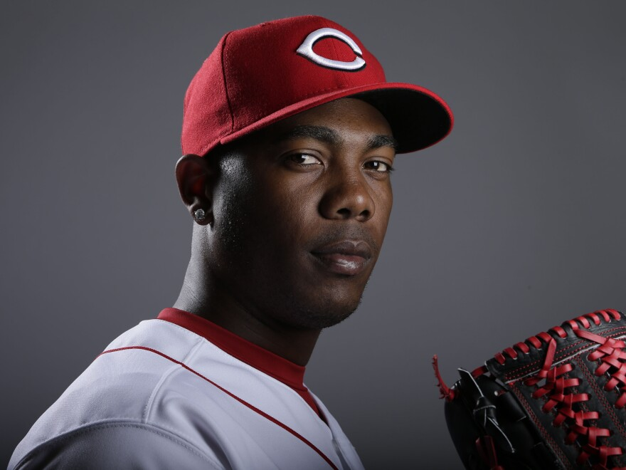 Cincinnati Reds pitcher Aroldis Chapman last month. Now, he's recovering from being hit in the face by a batted ball last night.