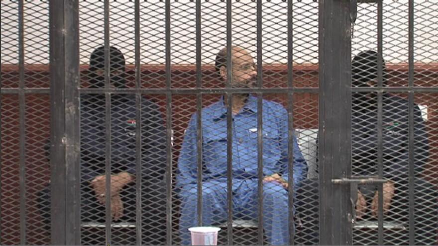 Saif Al-Islam Gadhafi, the second son of former Libyan leader Muammar Gadhafi, appears in the court in Zintan city, some 150 km southwest of Tripoli.