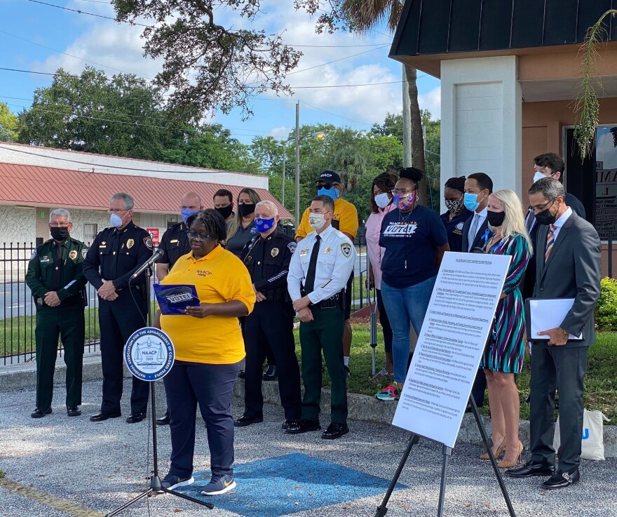 Hillsborough County NAACP President Yvette Lewis speaks at a press conference, joined by county law enforcement leaders and the Florida ACLU.
