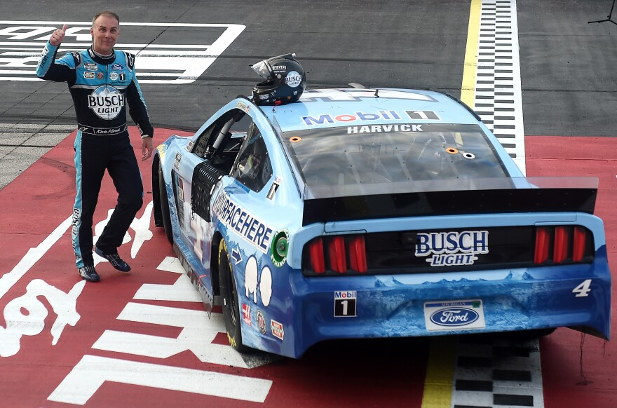 NASCAR veteran Kevin Harvick celebrated his win at Darlington last Sunday, without the usual crowd in Victory Lane.