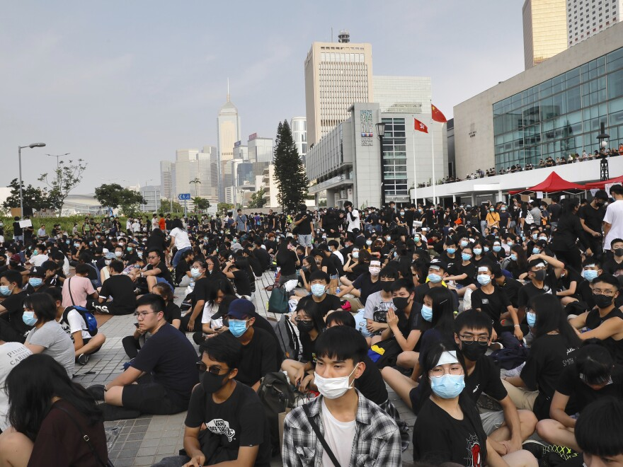 Students and others gather during a demonstration in Hong Kong on Thursday.