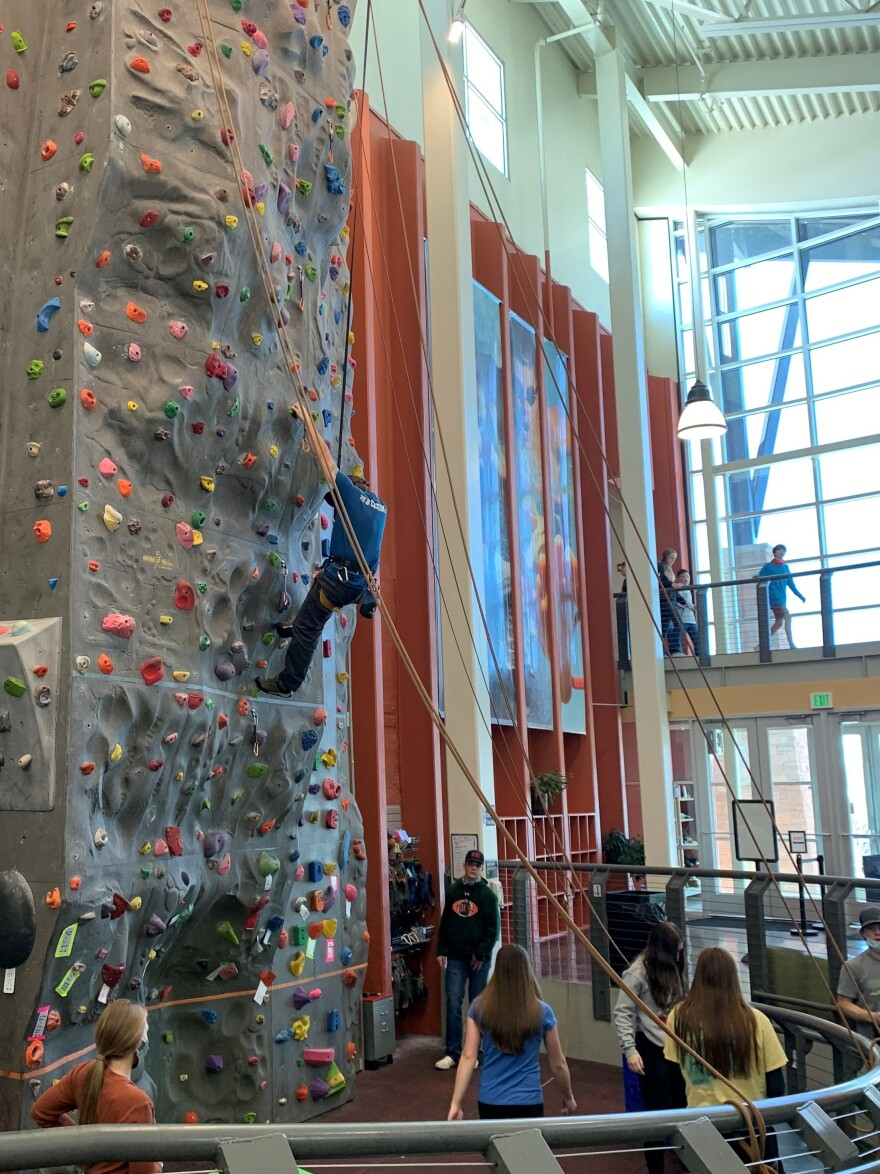 Pinedale's three-story climbing wall, inside a 22 million aquatic center, was largely funded by tax revenue from the fossil fuels industry.