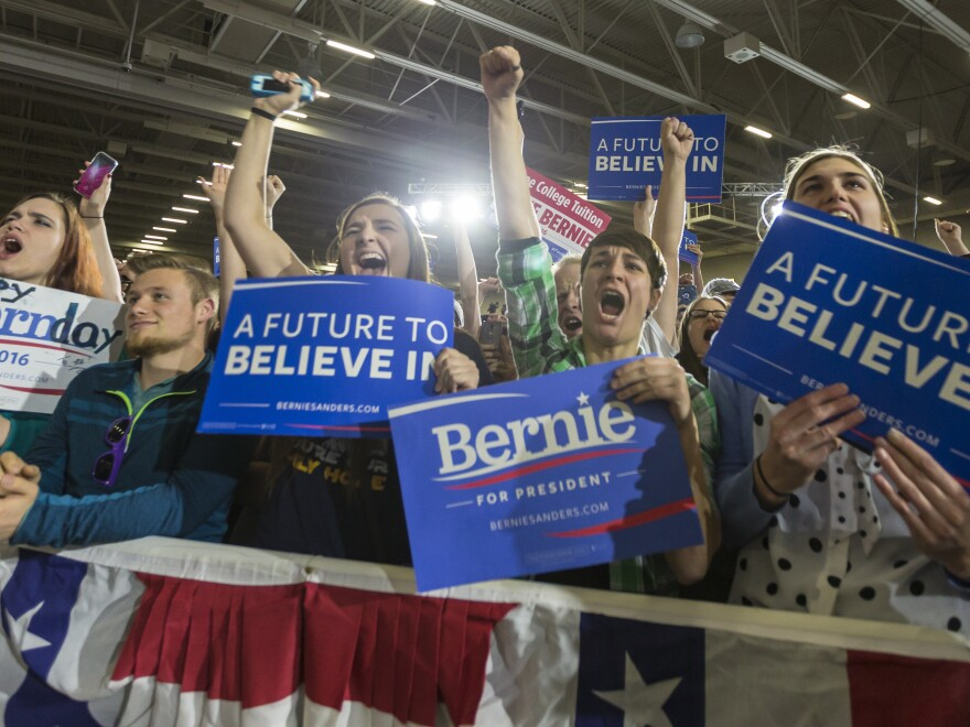 Supporters of Democratic presidential candidate Sen. Bernie Sanders cheer at a campaign stop Saturday in Madison, Wis.