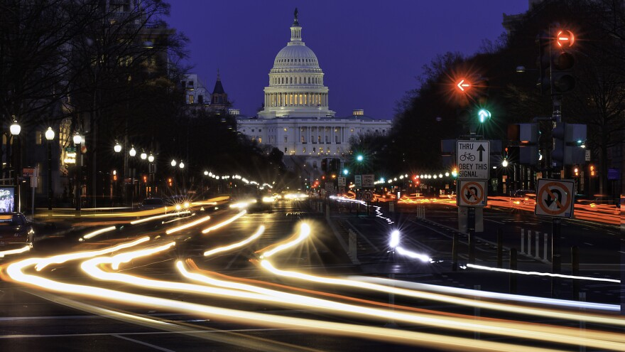 A view of Pennsylvania Ave. approaching the U.S. Capitol in Washington, D.C.