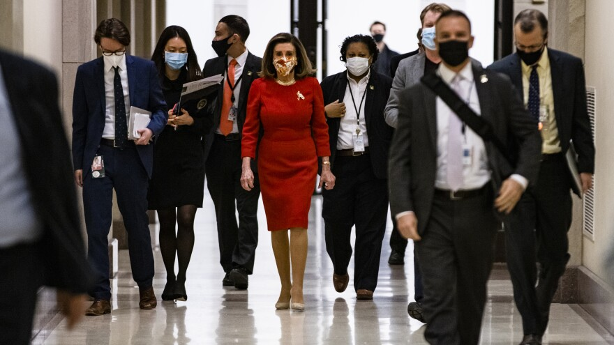 Speaker of the House Nancy Pelosi, seen at the Capitol on Feb. 11, has called for an independent commission to investigate the Jan. 6 Capitol insurrection.