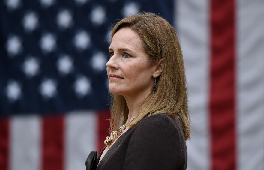 Judge Amy Coney Barrett, pictured at the White House on Sept. 26, is President Trump's Supreme Court nominee — and she has gun control groups worried.