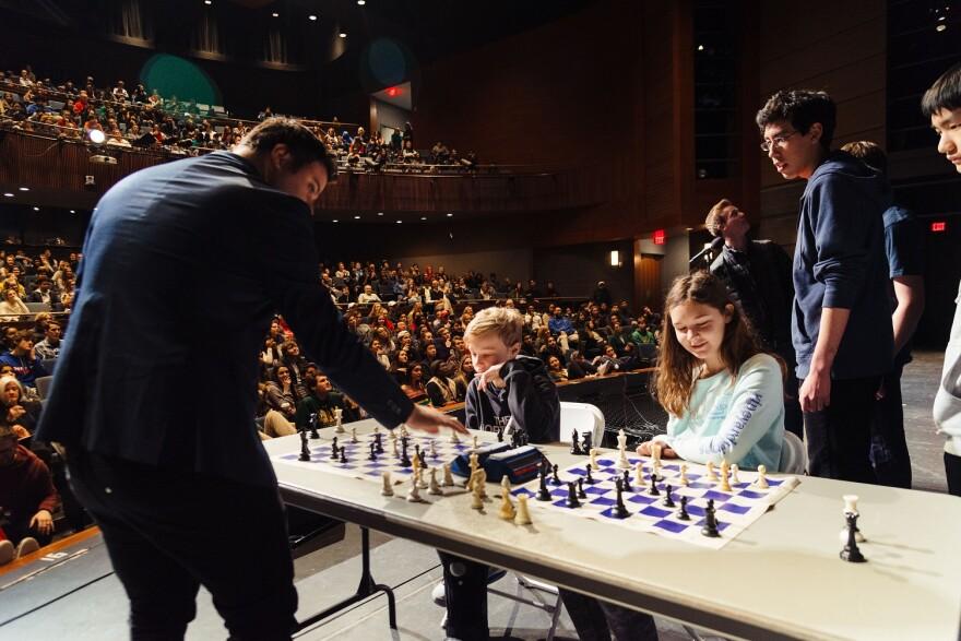 Grandmaster Pepe Cuenca with students at John Burroughs School.
