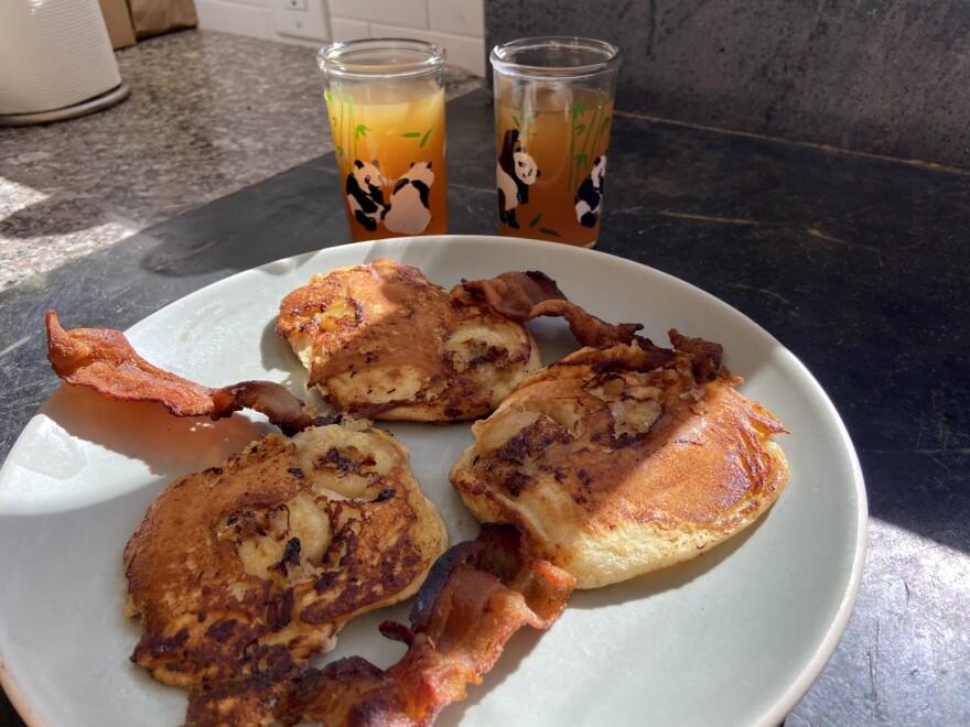 Maple-banana pancakes. (Kathy Gunst)