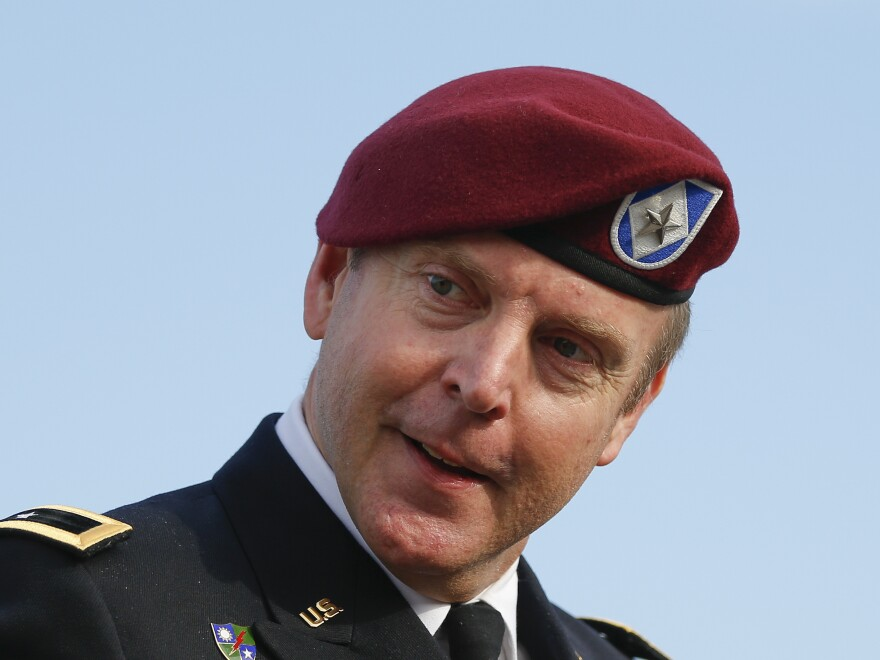 Army Brig. Gen. Jeffrey Sinclair as he arrived for his court-martial case Thursday at Fort Bragg in Fayetteville, N.C.