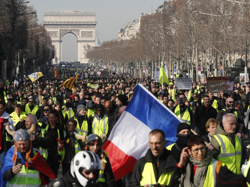 Yellow vest protesters marched in Paris last month.