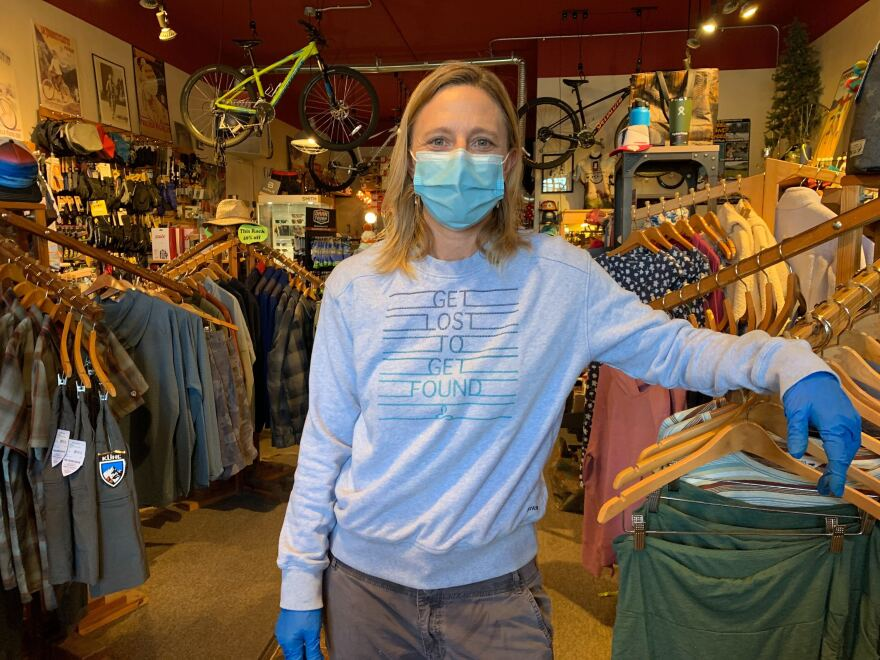 Melissa Alder, co-owner of Freeheel and Wheel in West Yellowstone, is worried that the park reopening could bring a spike in coronavirus cases.